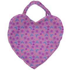Pink Star Blue Hats Giant Heart Shaped Tote