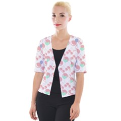 Bubblegum Cherry White Cropped Button Cardigan by snowwhitegirl