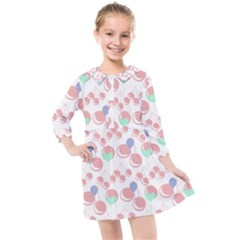 Bubblegum Cherry White Kids  Quarter Sleeve Shirt Dress