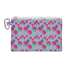 Bubblegum Cherry Blue Canvas Cosmetic Bag (large) by snowwhitegirl