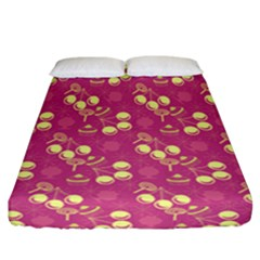 Yellow Pink Cherries Fitted Sheet (california King Size) by snowwhitegirl