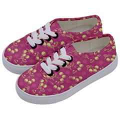 Yellow Pink Cherries Kids  Classic Low Top Sneakers by snowwhitegirl