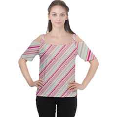 Candy Diagonal Lines Cutout Shoulder Tee by snowwhitegirl