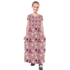 Mauve Dress Kids  Short Sleeve Maxi Dress by snowwhitegirl