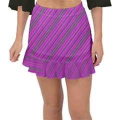 Pink Violet Diagonal Lines Fishtail Mini Chiffon Skirt