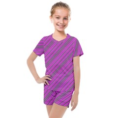 Pink Violet Diagonal Lines Kids  Mesh Tee And Shorts Set