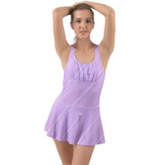 Lilac Diagonal Lines Ruffle Top Dress Swimsuit by snowwhitegirl