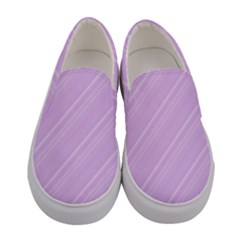 Lilac Diagonal Lines Women s Canvas Slip Ons