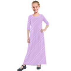 Lilac Diagonal Lines Kids  Quarter Sleeve Maxi Dress