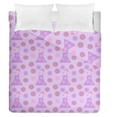 Violet Pink Flower Dress Duvet Cover Double Side (queen Size) by snowwhitegirl