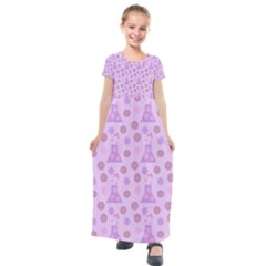 Violet Pink Flower Dress Kids  Short Sleeve Maxi Dress