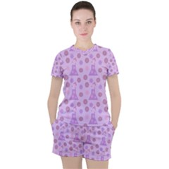 Violet Pink Flower Dress Women s Tee And Shorts Set
