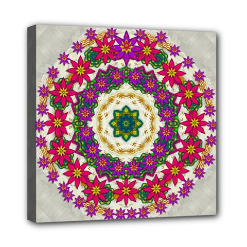 Fauna Fantasy Bohemian Midsummer Flower Style Mini Canvas 8  X 8  by pepitasart