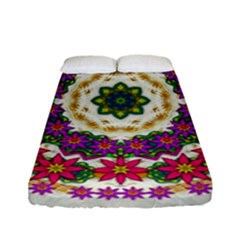 Fauna Fantasy Bohemian Midsummer Flower Style Fitted Sheet (full/ Double Size) by pepitasart