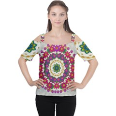 Fauna Fantasy Bohemian Midsummer Flower Style Cutout Shoulder Tee by pepitasart