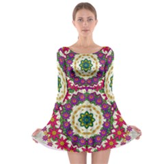 Fauna Fantasy Bohemian Midsummer Flower Style Long Sleeve Skater Dress by pepitasart