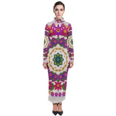 Fauna Fantasy Bohemian Midsummer Flower Style Turtleneck Maxi Dress by pepitasart