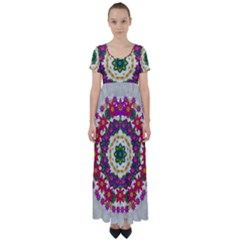 Fauna Fantasy Bohemian Midsummer Flower Style High Waist Short Sleeve Maxi Dress by pepitasart