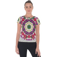 Fauna Fantasy Bohemian Midsummer Flower Style Short Sleeve Sports Top  by pepitasart