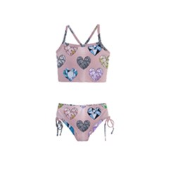 Gem Hearts And Rose Gold Girls  Tankini Swimsuit
