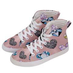 Gem Hearts And Rose Gold Women s Hi Top Skate Sneakers by 8fugoso