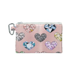 Gem Hearts And Rose Gold Canvas Cosmetic Bag (small) by 8fugoso