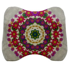 Fauna Fantasy Bohemian Midsummer Flower Style Velour Head Support Cushion by pepitasart