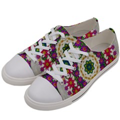 Fauna Fantasy Bohemian Midsummer Flower Style Women s Low Top Canvas Sneakers by pepitasart