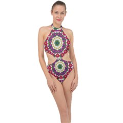 Fauna Fantasy Bohemian Midsummer Flower Style Halter Side Cut Swimsuit by pepitasart