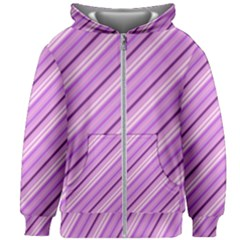 Violet Diagonal Lines Kids Zipper Hoodie Without Drawstring
