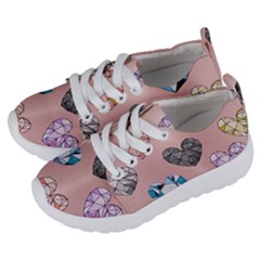 Gem Hearts And Rose Gold Kids  Lightweight Sports Shoes by 8fugoso