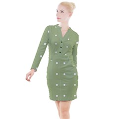 Olive Dots Button Long Sleeve Dress by snowwhitegirl