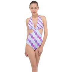 Geometric Squares Halter Front Plunge Swimsuit