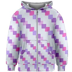 Geometric Squares Kids Zipper Hoodie Without Drawstring