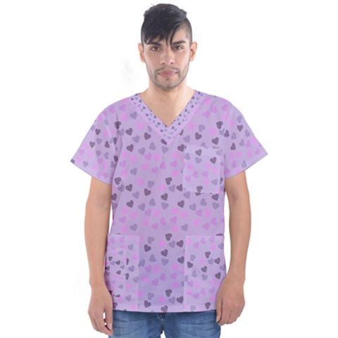 Heart Drops Violet Men s V-neck Scrub Top by snowwhitegirl