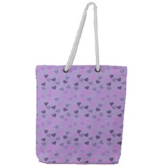 Heart Drops Violet Full Print Rope Handle Tote (large) by snowwhitegirl