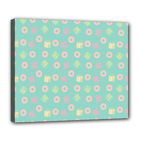 Teal Donuts And Milk Deluxe Canvas 24  X 20   by snowwhitegirl