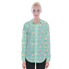 Teal Donuts And Milk Womens Long Sleeve Shirt