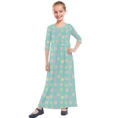 Teal Donuts And Milk Kids  Quarter Sleeve Maxi Dress