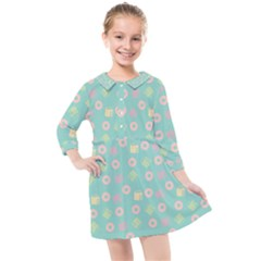 Teal Donuts And Milk Kids  Quarter Sleeve Shirt Dress