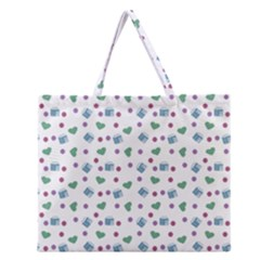 White Milk Hearts Zipper Large Tote Bag by snowwhitegirl