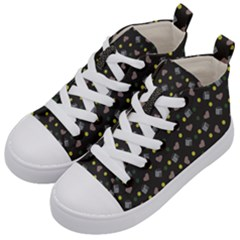 Dark Grey Milk Hearts Kid s Mid Top Canvas Sneakers by snowwhitegirl