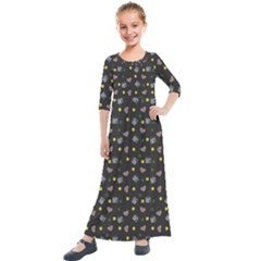 Dark Grey Milk Hearts Kids  Quarter Sleeve Maxi Dress by snowwhitegirl