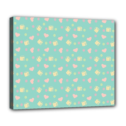 Teal Milk Hearts Deluxe Canvas 24  X 20   by snowwhitegirl