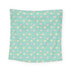 Teal Milk Hearts Square Tapestry (small)