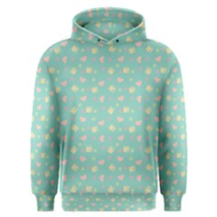Teal Milk Hearts Men s Overhead Hoodie