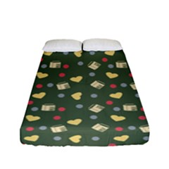 Green Milk Hearts Fitted Sheet (full/ Double Size)