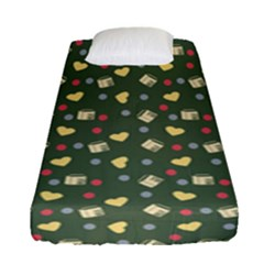 Green Milk Hearts Fitted Sheet (single Size)