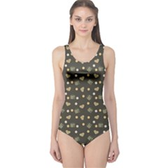 Charcoal Grey  Milk Hearts One Piece Swimsuit