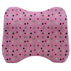 Pink Milk Hearts Velour Head Support Cushion
